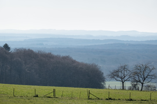 View towards the Ardennes from the top of Mullerthal Trail Route