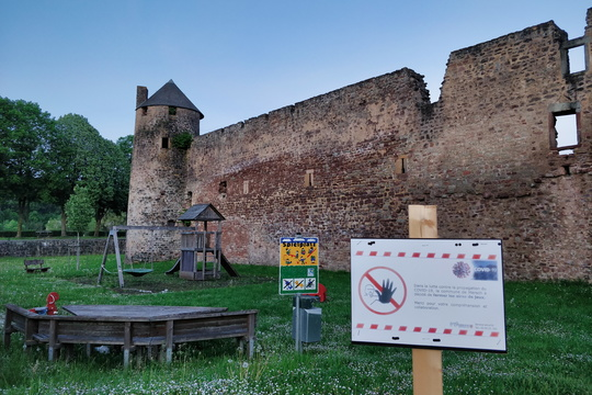 A castle and a closed playground
