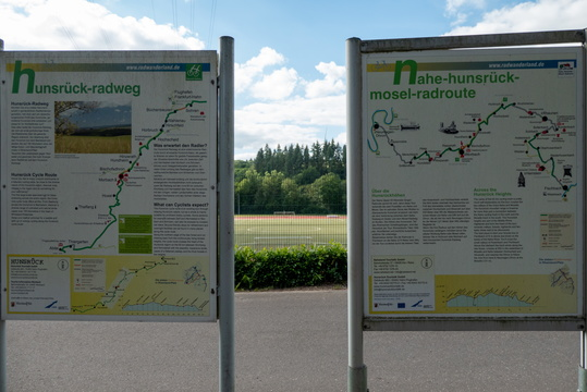 Information boards  at cycling routes intersection