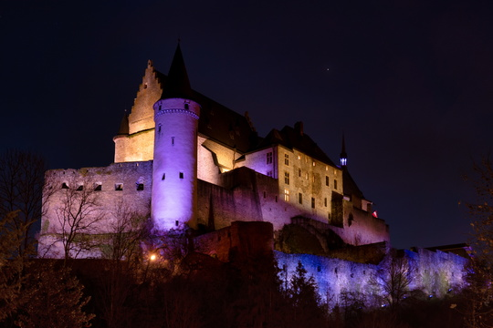 Vianden Castle at night