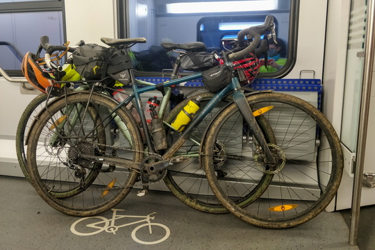 Bikes travelling by train