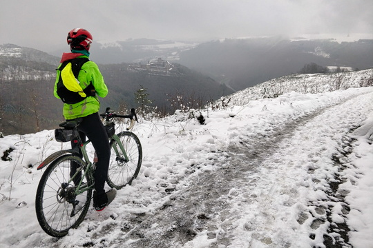 Cycling in the snow near Bourscheid
